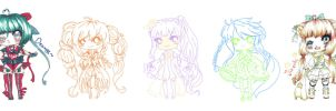 [CLOSED} SALE~ 0.50$ each ~ Adoptables + Gijinkas by maributt