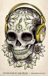 Skull Headphones Tattoo by Sam-Phillips-NZ