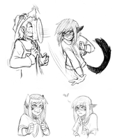 Quick Doodles - Raine (and a Riley) by FuyusFox