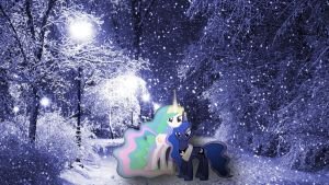 Celestia And Luna Posing In The Snow by Macgrubor