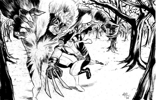 wolverine vs sabertooth commission by davechisholm