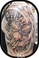 Patricias tattoo side view by flyingants
