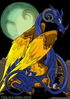Feathered Blue Dragon by Swirlything