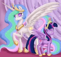 Celestia and Princess Twilight by Mel-Rosey