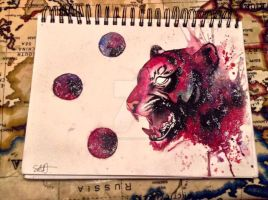 GALAXY TIGER - NEW WATERCOLOUR PAINTING! by psychosisblazee