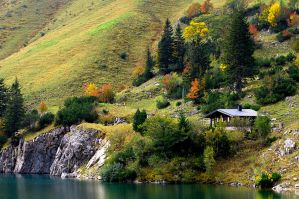 Autumn lake in the Alps by mutrus
