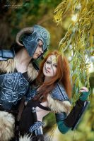 Aela The Huntress and Dovahkiin Cosplay - Skyrim by yukinohanacosplayart