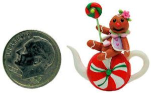 CHRISTMAS GINGER BREAD MAN LOLLYPOPS CANDY TEAPOT by WEE-OOAK-MINIATURES