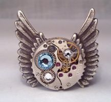 Winged Watch Movement Ring by SteamDesigns