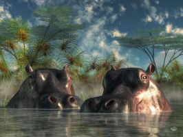 Hippos Are Coming To Get You by deskridge