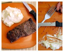 Steak Dinner- Before and After by cb-smizzle