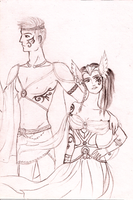 Cato and Clove - Tribute Parade - sketch - by Morrigan22