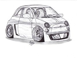 Fiat 500 F430 lineart by Mister-Lou