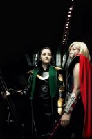 Green and Red - Loki and Thor by Oniakako