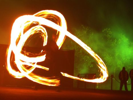 Fire Poi Dancer by zephyron
