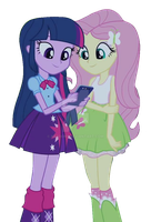 EQG Rainbow Rocks Twilight and Fluttershy Vector by ABToons