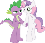 MLP FiM- Spike and Sweetie Belle by Hoodie-Stalker