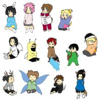 Naruto chibis no background by redroseelcamino