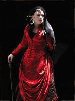 Red Chinese Bustle Dress by jeriquan