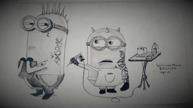 Minions pencil drawing by dubz002