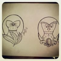 burlesque corset tattoo  sketch by ShellyZTrueheartInk