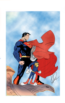 Superman and Bugs Bunny by xabdcm10