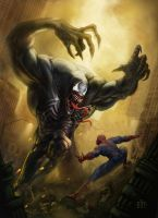 Venom vs. Spiderman by elmst000