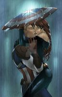 Captain America and Black Widow in the Rain by sorah-suhng