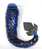 Blue with Black Dorsal Stripe Dragon Tail by SerenFey