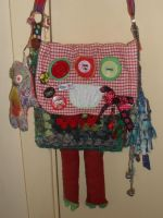 Red and Green Monster Bag by Kate-ColourTheory