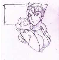 5 minute quickie: Catwoman and Dex-Starr by InfectedLobster