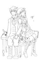Oz and Alice Lineart by wolfspiritsd