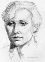 Life Drawing portrait young woman by tuolumney