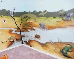 African Theme Nursery Mural by SYoshiko