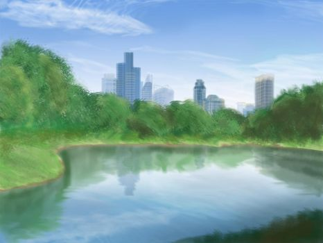 The park: Digital painting 1/??? by AquaVarin