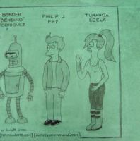 Futurama Crew: Pencil and Ink by javoec