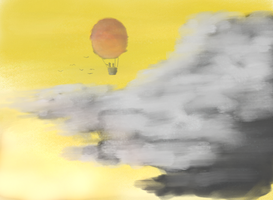 Red Balloon, Yellow Sky by DoNotFeedTheMax