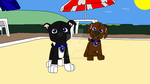 Pups at the beach by Wolf-Prince-Leon
