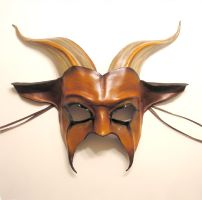 Leather Goat Mask, chestnut by teonova