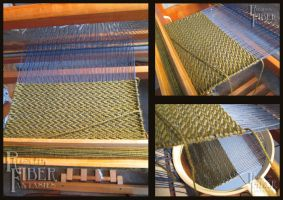 Blue and Green Zig Zag Scarf - Weaving WIP by shadechristiwolven
