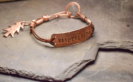 Hand-forged, Copper WANDERLUST Bracelet by BritishBohemian