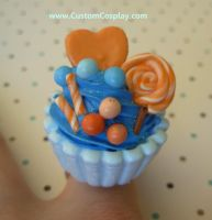 Blue and orange cupcake by The-Cute-Storm