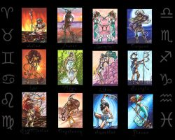Zodiac Warriors: ACEOs by skardash