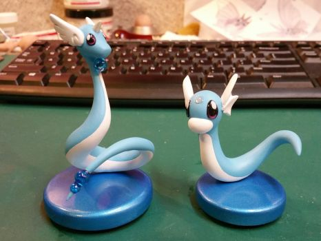 Dragonair and Dratini Painted by aachi-chan