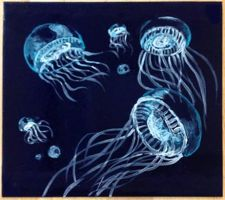 Glass Fusing: Jellyfish [Before] by Mysticalpchan