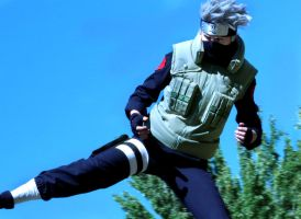 Kicking Kakashi by Suki-Cosplay