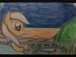 MLP: Sarah Crystal  in the sunset with her past by Paladin360