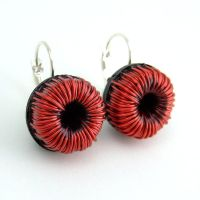 Red Wire Toroids Electronics Earrings by Techcycle