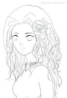 Rose Girl Lineart by TigerpeltRaven