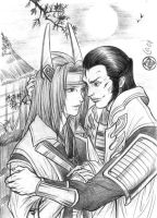 Sakon and Mitsunari yaoi by Autumn-Sacura